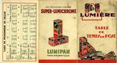 Lumière - Table de temps de pose Super-Lumichrome miniature